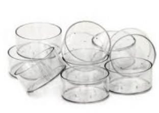 100 x Clear Polycarbonate Tealight Cups. . 19mm Non-Stackable. . . (38mm x 19mm)